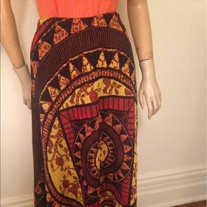 70s Maxi Skirt,dramatic Golden Sun Worship Design